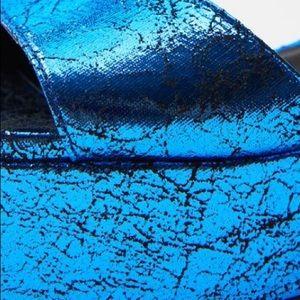 Zara Shoes - ZARA Blue Metallic Platform Sandals EUR 36 US 6